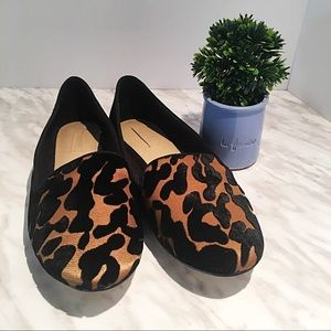 Zara Shoes Leopard Smoking Slippers Loafers Flats